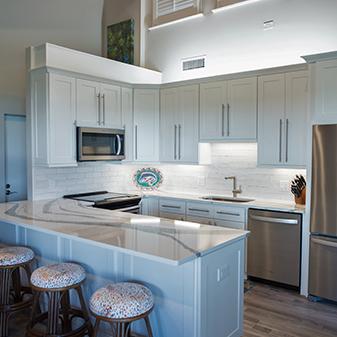 Beach front condo kitchen remodel by Flooring USA Abbey Kitchen & Bath Design Center